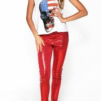 Cool European Punk Style American Flag Skull Print Vest from shopgirl8