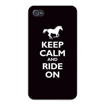 Apple Iphone Custom Case 4 4s Snap on - 'Keep Calm and Ride On' White Horse Silhouette on Black