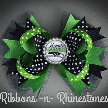 SEATTLE SEAHAWKS Boutique Style Hair Bow, Over the Top Seahawks Bow, Layered Seattle Seahawks Bow, Seattle Seahawks Bottle Cap Hair Bow