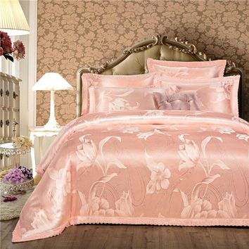 Satin Cotton Luxury Lace Bedding Set Jacquard King Queen size Bed set Duvet Cover Bed/Flat Sheet set Bedlinen Pillowcase