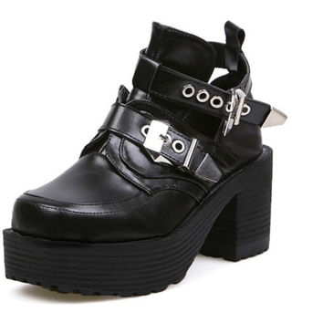 AUTUMN WINTER WOMEN GIRL PUNK ROCK BUCKLES STRAP CUT OUT ANKLE BOOTS SQUARE TOE PLATFORM CHUNKY BLOCK MED HEELS MUFFIN BOOTIES