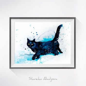 Original Watercolour Painting- Black Cat art, animal, illustration, animal watercolor, animals paintings, animals, portrait,