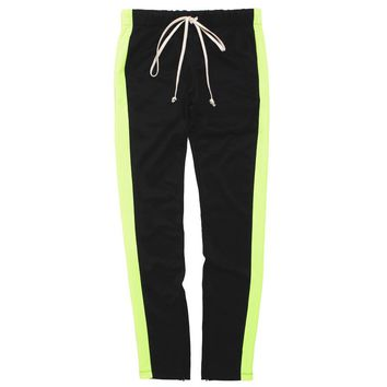 Track Pants Black / Neon Green