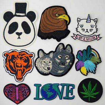 Panda Eagle Earth Leaf Big Iron On Patches Sewing Embroidered Applique for Jacket Clothes Stickers Badge DIY Apparel Accessories