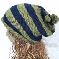 Slouchy Knitted Pompom Hat Navy and Khaki