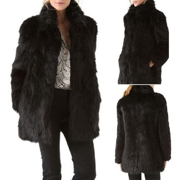 Women Winter Fashion Black Collar Warm Faux Fur Long Sleeve Jacket Coat Outwear = 1931622596