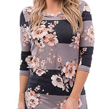 Floral Print T-Shirts Casual Striped Blouse Tops