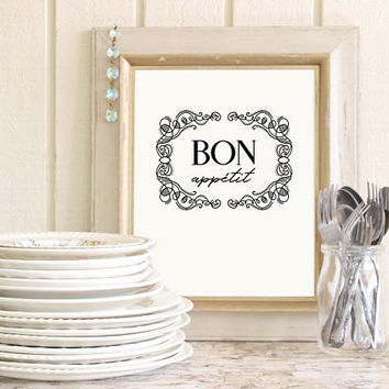 Bon appetit sign, Bon appetit wall art for kitchen, Wall decor kitchen gifts, Farmhouse kitchen quote print, Dining room wall art printable