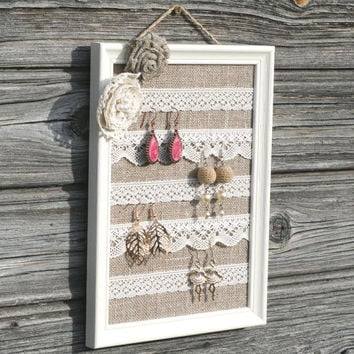 Shabby chic earring organizer,Shabby chic burlap earring display,Vintage Jewelry frame,Linen and lace jewelry holder,Rustic Jewelry holder