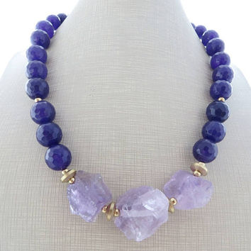 Lavender amethyst necklace, chunky necklace, big bold necklace, purple jade necklace, beaded necklace, stone jewelry, contemporary jewelry