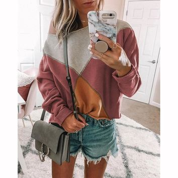 Geometric Patchwork Women Sweatshirt 2018 New Fashion Casual O Neck Long Sleeves Hoodie Sweatshirt Streetwear SJ032T