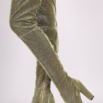 Bamboo Foiled Metallic Fabric Chunky Heeled Over-The-Knee Boots