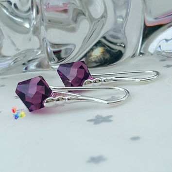 Swarovski Crystal Earrings, Amethyst, Sterling Silver, Gift for her, wife, girlfriend, fiancee, sister, Plum, purple, February birthstone