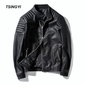 Tsingyi Motorcycle Men's Leather Jacket PU Stand Collar Slim Fit Moto Vintage Jaket Leather Men Veste Cuir Homme Coats