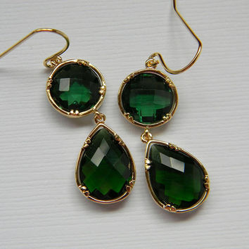 Bohemian Bridesmaid Earrings Emerald Green by DanaCastle on Etsy
