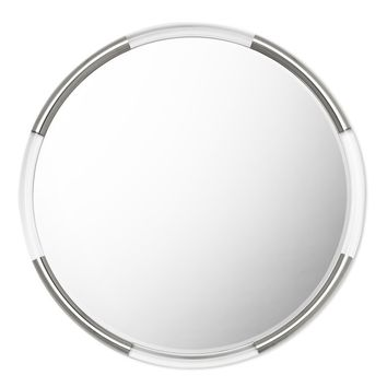 Acrylic and Nickel Round Wall Mirror