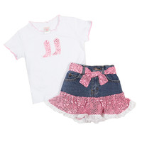 Kid's Korral Girl's Sequin Ruffle Shirt and Skirt Set
