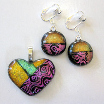 Making Memories One of a Kind Dichroic Heart Pendant and Clip On Earrings by mysassyglass