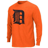 Majestic Threads Detroit Tigers  Tri-Blend Logo Long Sleeve T-Shirt - Orange