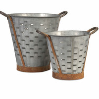 Vintage Pierced Bucket - Set of 2