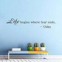 Life begins where fear ends OSHO Quote Yoga Wall Decal Vinyl Sticker Wall Decor Home Interior Design Art Mural vk74