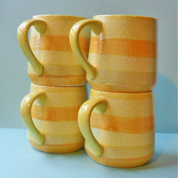 holt howard cups / mugs set of 4 yellow stripes by OldLikeUs