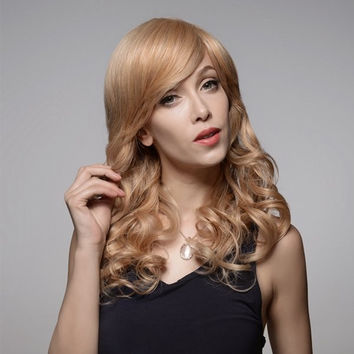 Long Charming Curly Human Hair Wig Capless Virgin Remy Side Bang Mono Top 8 Colors 58cm