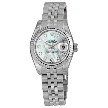 Rolex Lady Datejust 26 White Mother of Pearl with 10 Diamonds Dial Stainless