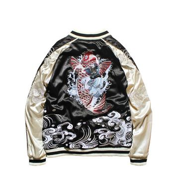 Trendy Japanese Style Jacket Double-sided Wear Yokosuka Jacket Male and Female Lovers Heavy Dragon Embroidered Pilot Bomber Jackets AT_94_13