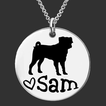Pug Dog Personalized Necklace