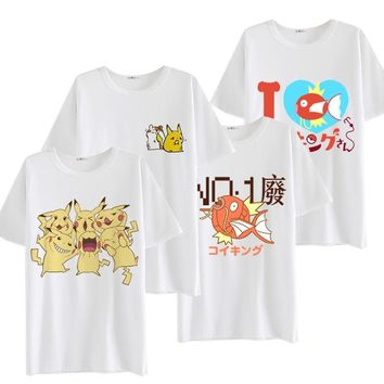 2017 New Anime  Go Cosplay Costume Cartoon Adult Pikachu Cosplay T Shirts For Women Men Tees Cotton Tops  Kawaii Pokemon go  AT_89_9