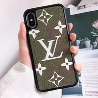 Louis Vuitton LV Fashion Print iPhone X XS XS MAX XR Phone Cover Case For iphone 6 6s 6plus 6s-plus 7 7plus 8 8plus Army Green