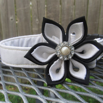 Designer Dog Collar with Silk Kanzashi Flower CUSTOM Tuxedo Black and White Silk - Wedding Collar