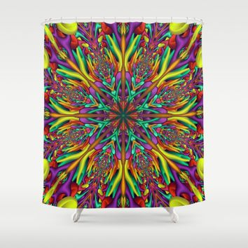 Crazy colors 3D mandala Shower Curtain by Natalia Bykova