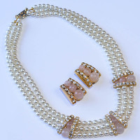 Multi Strand Pearl and Rhinestone Necklace and Earrings Blush Pink