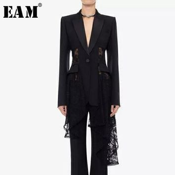 [EAM] High Quality 2018 Autumn Black Lace Spliced Asymmetric Length Shrink Waist Hollow Out Sexy Coat Fashion New Women's LA955