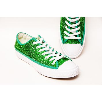 Kelly Green Starlight Sequin over White Low Top Sneakers