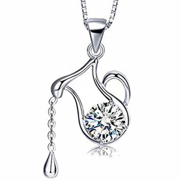 925 Sterling Silver Water Pitcher Pendant Necklace