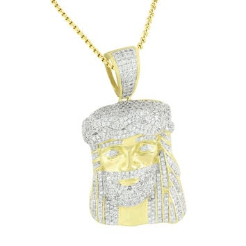 Gold Finish Jesus Pendant Stainless Steel Franco Chain