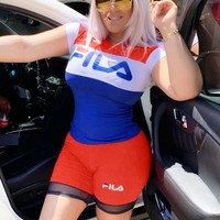 Fila Fashion Women New Letter Print Sports Leisure Top And Shorts Two Piece Suit Red