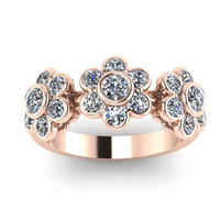 Diamond Band Flower Design Band 14K Rose Gold Flower Ring - V1084