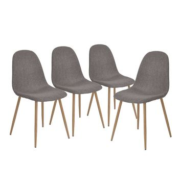 Set of 4 - Modern Mid Century Style Grey Fabric Cushion Dining Chairs