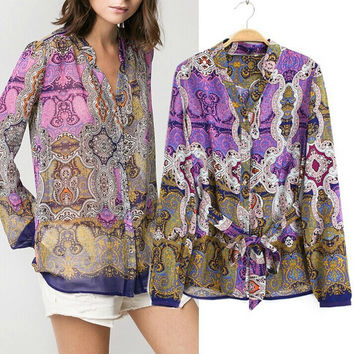 Summer Women's Fashion Indian Totem Print Vintage Long Sleeve Shirt [5013257092]