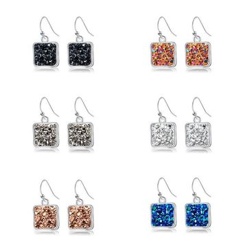 Earrings Fashion Jewelry 2018 with Silver Color Druzy Stone Earring Drop Dangle Earring for Women Christmas Gift
