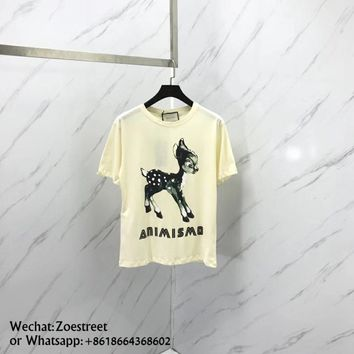 Digital Printed deer pattern Cotton Short sleeve t-shirt 008