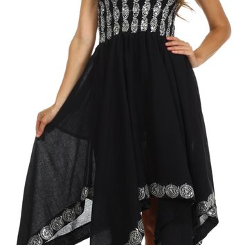 Sakkas Delia Sequin Handkerchief Hem Dress