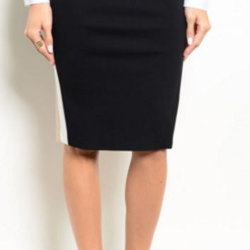 Black Pencil Skirt with Color Block Sides