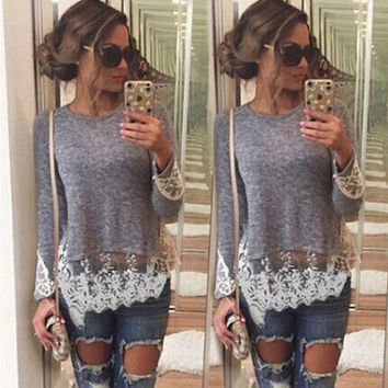 SIMPLE - Popular Fashionable Lace Long Sleeve Casual Boho Top Shrit T-shirt T-shirt b2206