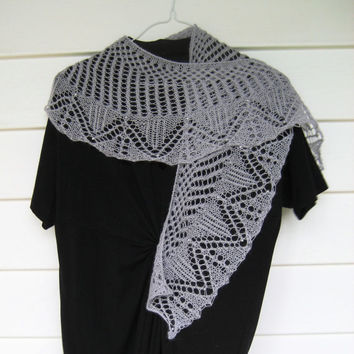 soft grey lace knit wool shawl with silver colored beads