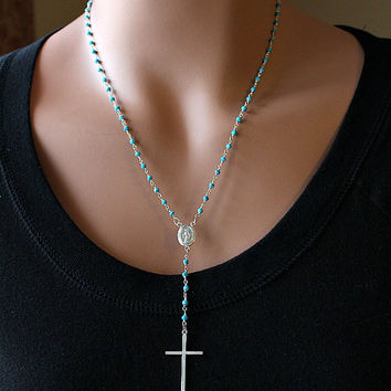 Turquoise Rosary Necklace, Blue Stone, Rosary Style, 925 Sterling Silver, Turquoise Jewelry, Real Housewives